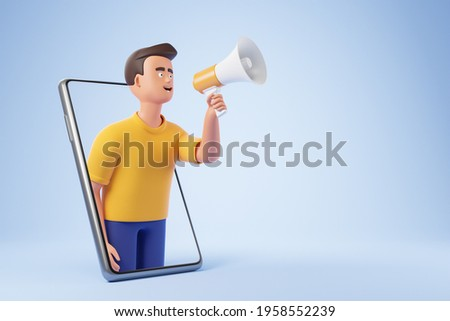 Handsome cartoon character man holding loudspeaker and making announcement from smartphone over blue background. Internet advertising concept. 3d render illustration.