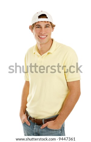 Handsome casual college age young man.  Isolated on white.