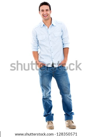 Handsome casual man smiling - isolated over a white background