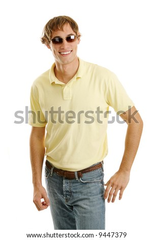 Handsome casual young man/late teen in sunglasses.  Isolated on white.
