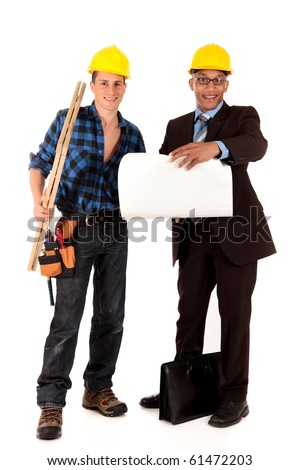 Handsome Caucasian and african American young  construction workers and architect. studio shot,  white background - stock photo