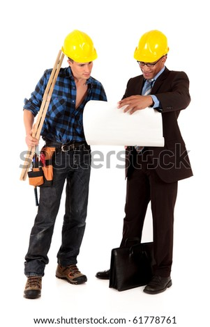 Handsome Caucasian and african American young  construction workers and architect. studio shot,  white background