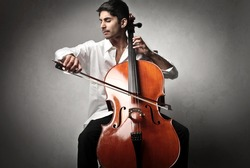 Handsome cello player