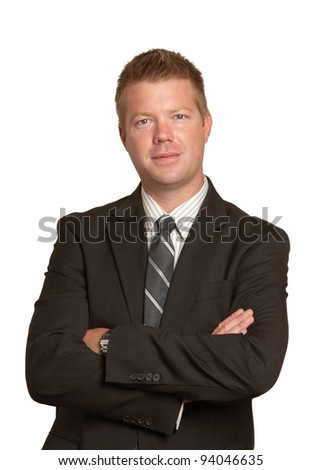 Handsome confident businessman isolated on white background