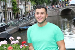 Handsome ethnic man in Amsterdam
