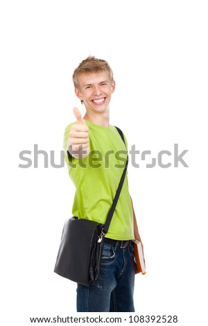 handsome excited man happy smile show thumb up gesture at you, young guy wear green t shirt school bag, white teeth, isolated over white background