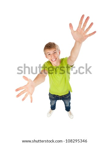 handsome excited man happy smile with raised hands arms palms looking at camera, concept top angle full length portrait, above view of young guy wear green t shirt, isolated over white background
