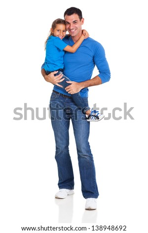 handsome father carrying his little daughter on white background