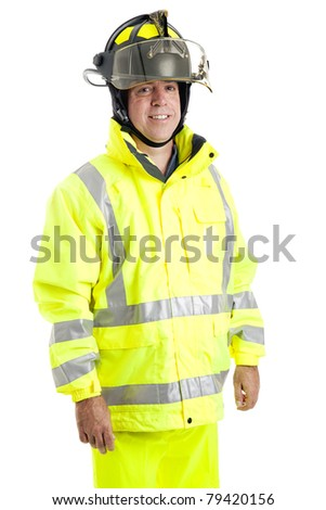 Handsome fire fighter isolated on white background.