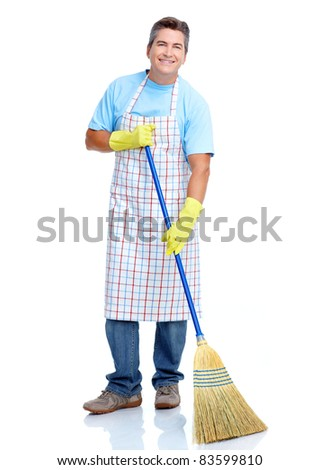 Handsome friendly cleaner. Isolated over white background