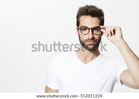 Handsome guy in glasses and white shirt