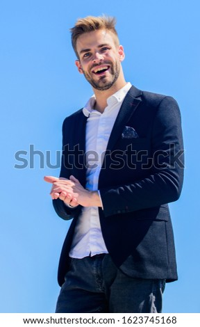 Handsome guy posing in formal suit blue sky background. Office worker. Looking impeccable. Ready to work. Male fashion. Formal style. Confident handsome businessman. Handsome man fashion model.