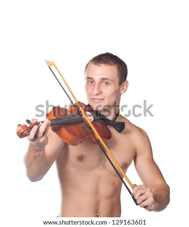 Handsome Guy Shirtless With Bow Tie Having Fun Violin Isolated On