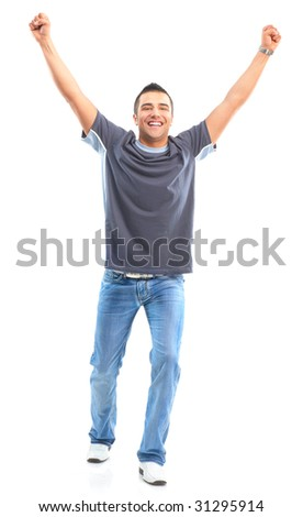 Handsome happy man. Isolated over white background