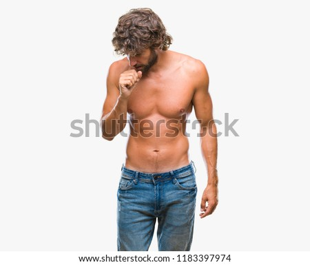 Handsome hispanic model man sexy and shirtless over isolated background feeling unwell and coughing as symptom for cold or bronchitis. Healthcare concept.