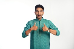 Handsome Indian Man Smiling and Showing Thumbs Up, Isolated on a White Background