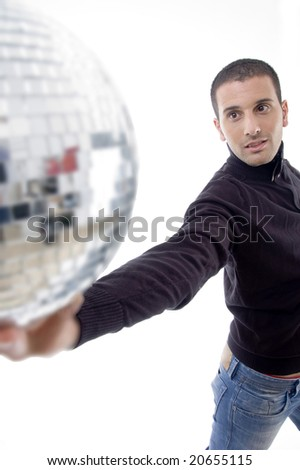 handsome male holding a disco light ball on an isolated white background
