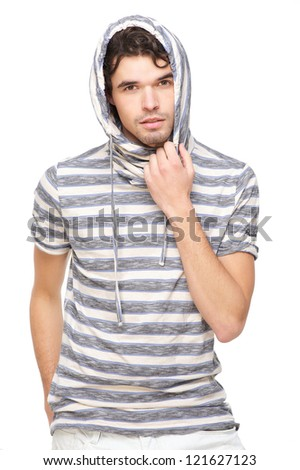 Handsome male model with striped hooded sweatshirt. Isolated on white background