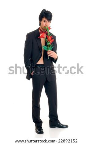 Handsome male valentine gigolo with flower,  Studio shot, white background