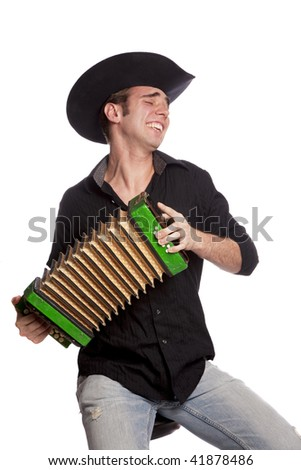 Handsome male with russian accordion and hat on isolated white