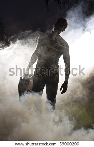 handsome man and abstract smoke