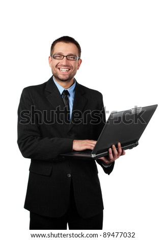 Handsome man, businessman with laptop looking at camera. Isolated on white background.