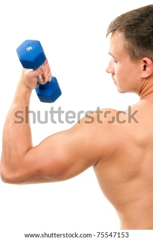 Handsome man holding blue dumbbells in hand and working out, showing muscular arms, biceps isolated on a white background