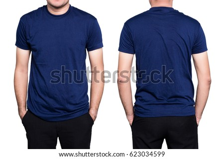 Handsome  man in a blank blue t-shirt  isolated on white background.