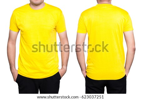 Handsome  man in a blank yellow t-shirt  isolated on white background. - Shutterstock ID 623037251