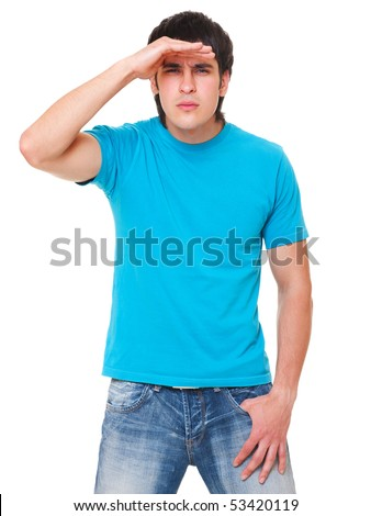 handsome man in blue t-shirt is scrutinizing. isolated on white background