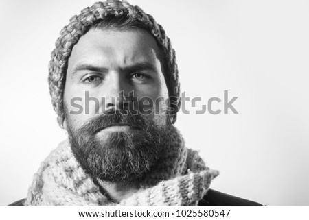 d7f9fc96b0b Handsome man in fashionable hat and scarf. Autumn