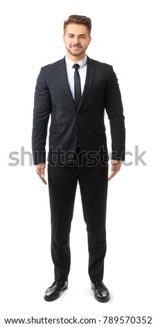 Handsome man in formal suit on white background #789570352