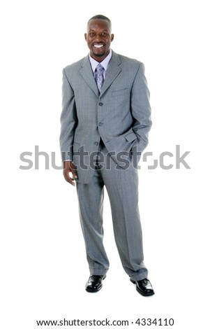 Handsome man in gray business suit.