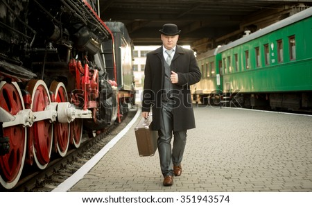 handsome man in retro suit with ...