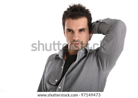 Handsome man in shirt and black scarf