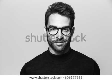 handsome man in spectacles ...