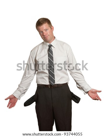 Handsome man in suit broke with empty pockets on white