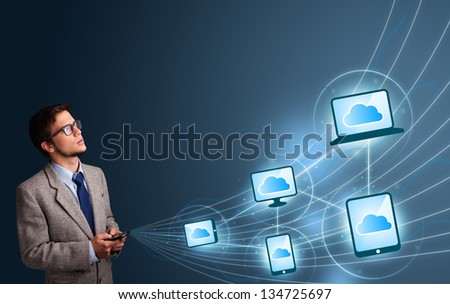 Handsome man lady typing on smartphone with cloud computing
