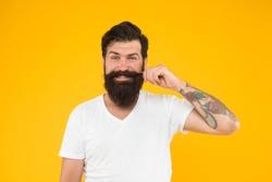 Handsome man mustache twirl barbershop services, design facial hair concept.