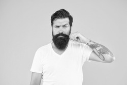 Handsome man mustache twirl barbershop services, length and thickness concept