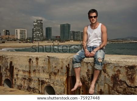 Handsome man near the sea