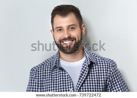 Handsome man on light background - Shutterstock ID 739722472
