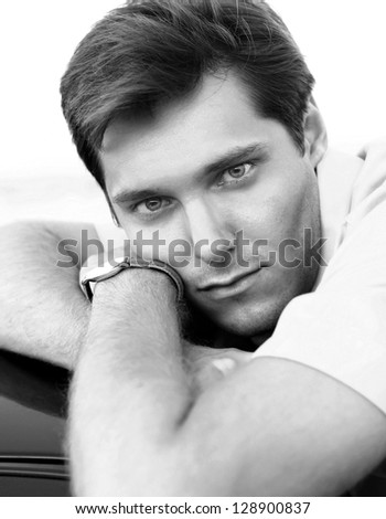 Handsome Man Portrait, black and white photo