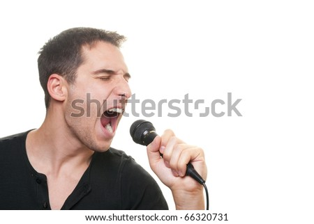 handsome man singing