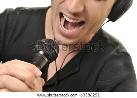 handsome man singing. closeup photo.