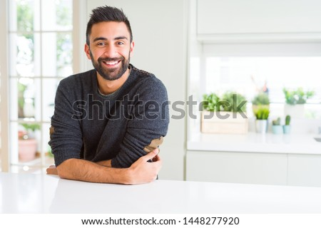 Handsome man smiling cheerful with a big smile on face showing teeth, positive and happy expression #1448277920
