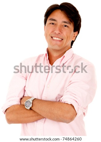Handsome man smiling ? isolated over a white background