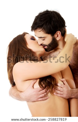 kissing Woman breast. Men