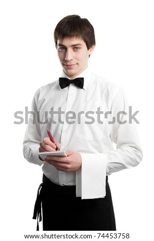 handsome man waiter in uniform with pen and notebook waiting an order isolated