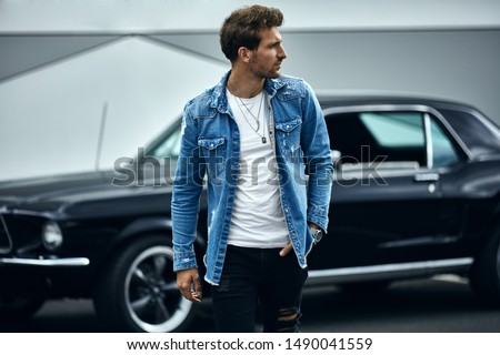 Handsome man with black classic car wear smart casual  #1490041559